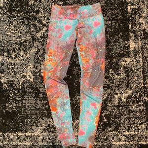 Onzie Blue Pink Orange Galaxy Leggings